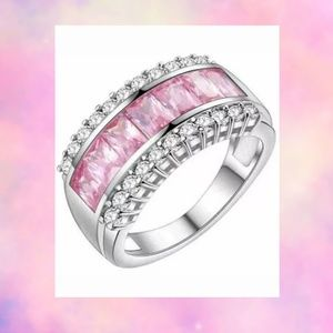 Pink Ice Cubic Zircon Pave Sterling Silver Ring